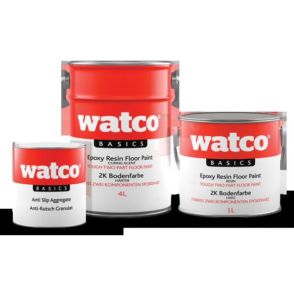 Im Bild: Die drei Komponenten der Watco Basics 2K Bodenfarbe Anti-Rutsch