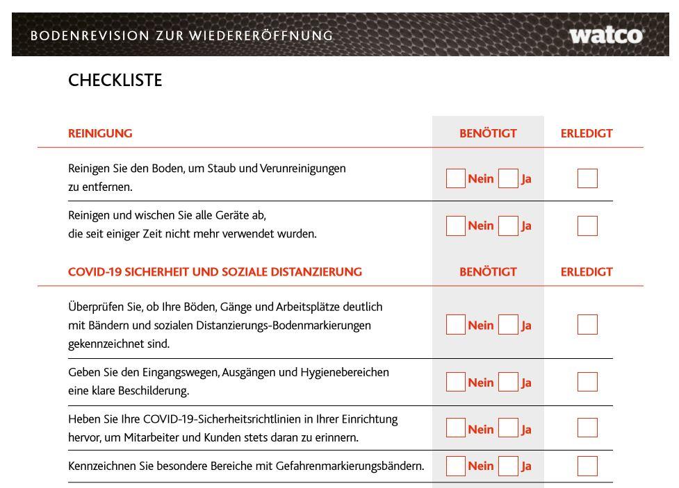 Im Bild ist ein Screenshot der Checkliste zu sehen