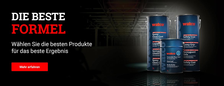 Im Bild: Unsere beste Formel Produkte Epoxyguard, Bodenfarbe und Epoxyguard Safe. Klicken, um mehr zu erfahren.