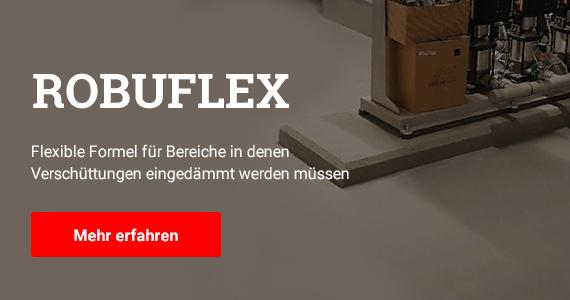 Text: Robuflex - Flexible Formel für Bereiche in denen Verschüttungen eingedämmt werden müssen. Im Bild: Ein Maschinenraum ist mit einer matt grauen Bodenbeschichtung geschützt