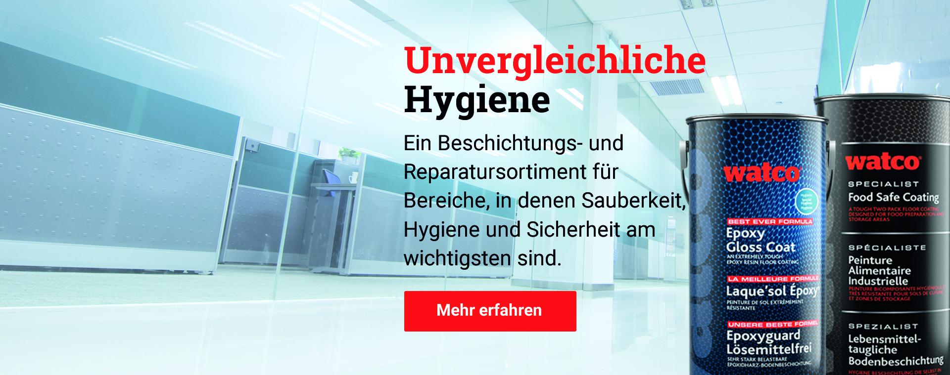 Watco's Hygiene-Sortiment: Beschichtungen für Bereiche in denen Sauberkeit, Hygiene und Sicherheit am wichtigsten sind