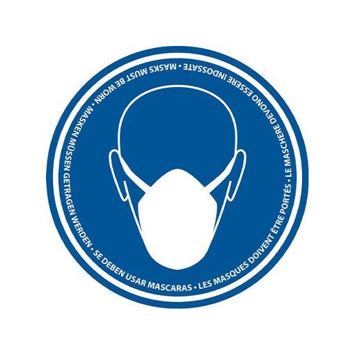 Bodenmarkierung Maskenpflicht